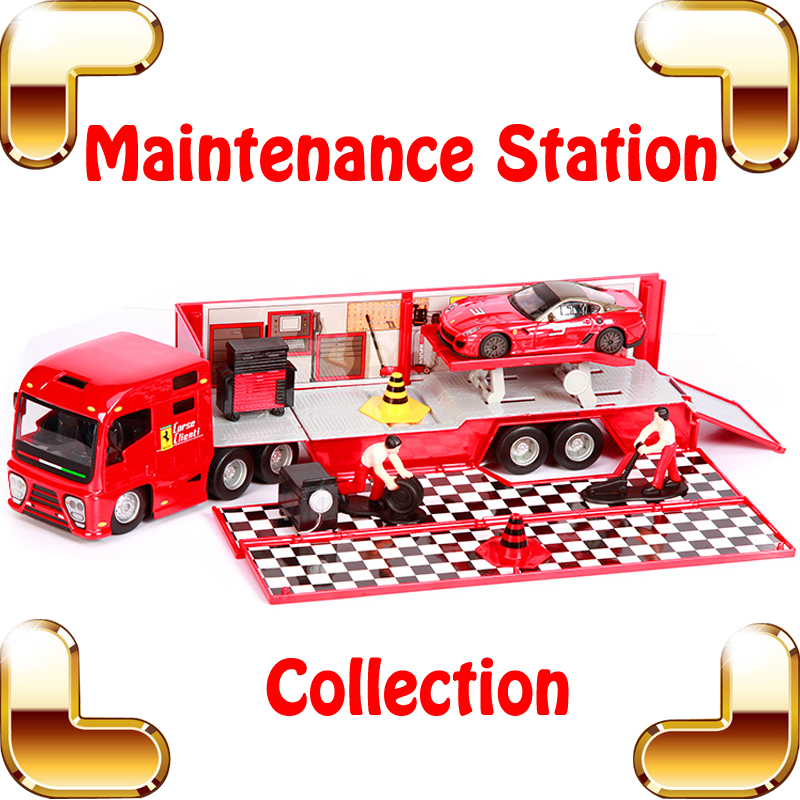 Christmas Gift F1 Maintenance Station 1/43 Metal Model Truck Car Vehicle Collection Diecast Alloy Present Kids Learning Toys Car maisto jeep wrangler rubicon fire engine 1 18 scale alloy model metal diecast car toys high quality collection kids toys gift