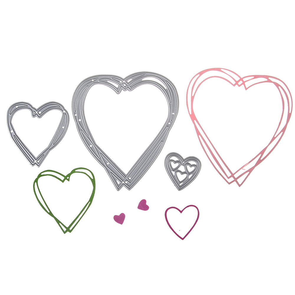 10.8*9.8cm scrapbooking DIY cute 3 pcs love heart shape steel cutting die sweet wedding Book photo album art card cake Dies Cut