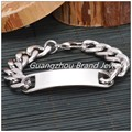 "8.66""*15mm 54g New South Korea's Tone Chain Silver 316L Stainless Steel Men's Silver Bracelet Bangle Charmings Gift For Husband"