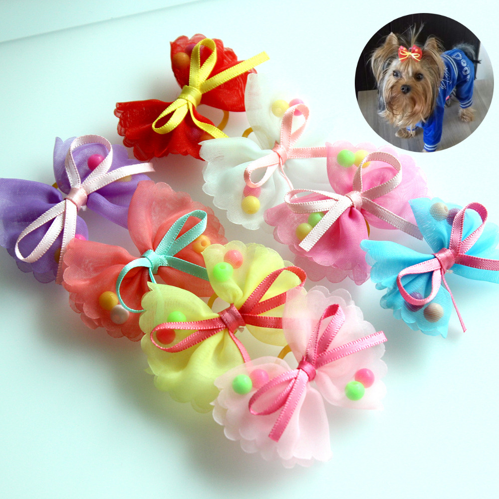 10pcs Pet Hair Bows Cute Chiffon Dog Bows Rubber Bands Dog Hair Accessories Pet Grooming Products Gift