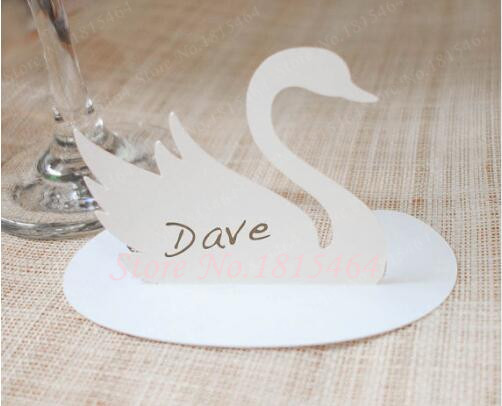 60pcs Laser Cut Swan Name Place Cards Personalized Table Number Place Card,Valentines Day Themed Wedding,Baptism Open Air Event