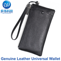 Fashionable Luxury Genuine Leather Universal Wallet Pouch Bag For iPhone 8 7 6S Plus W/Carry Strap Real Leather Case For Samsung