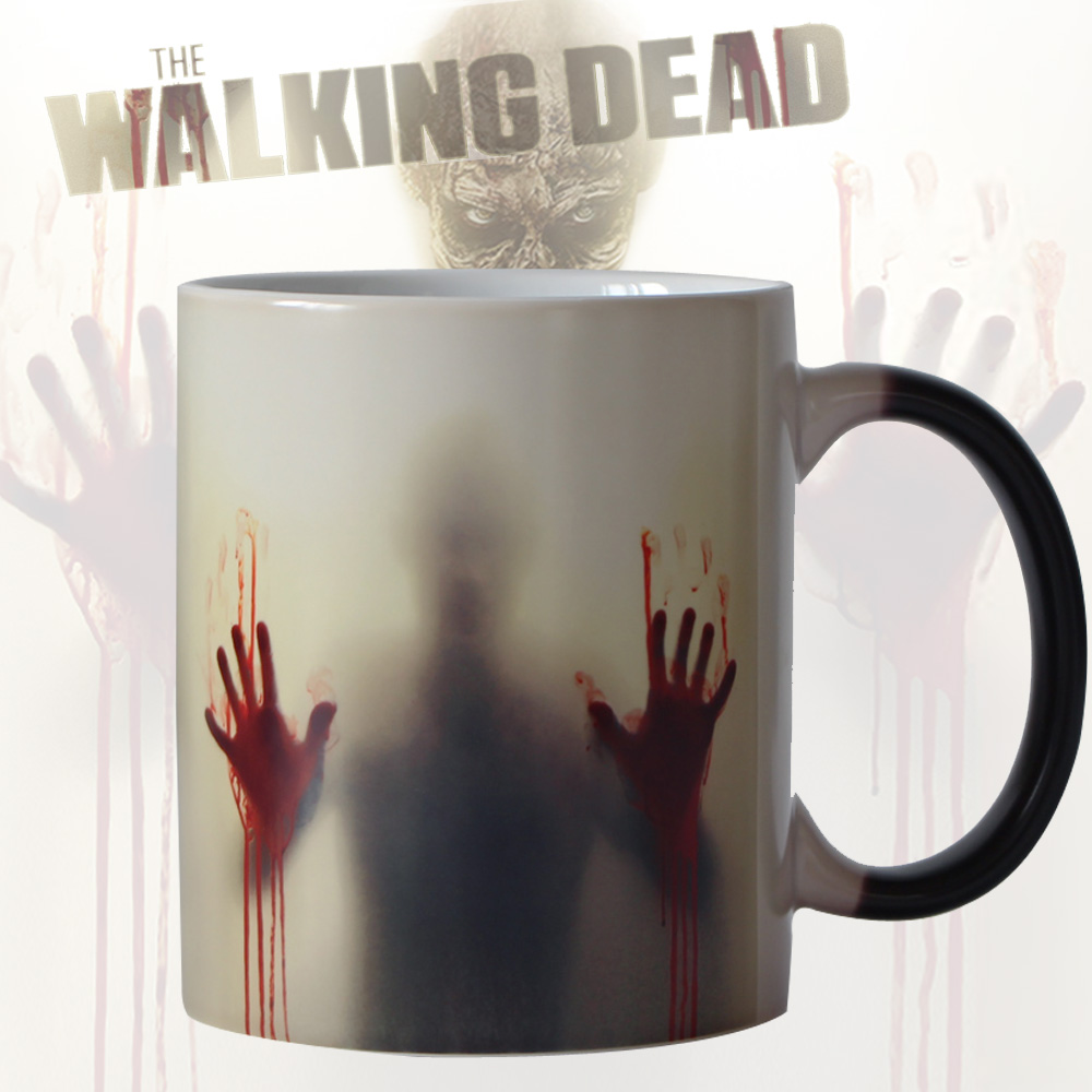 designer coffee mugs reviews  online shopping designer coffee  - newest design zombie color changing coffee mug heat senstive magic tea cupmugs walking dead bloody hands gift