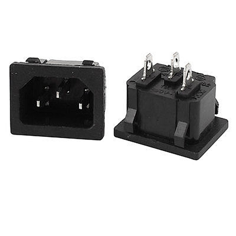 10pcs 3-pin IEC320 C14 (copper Leg) Jack Power Plug Power Socket AC-05 Card Bit Embedded Computer Power 250V 10A 2200W