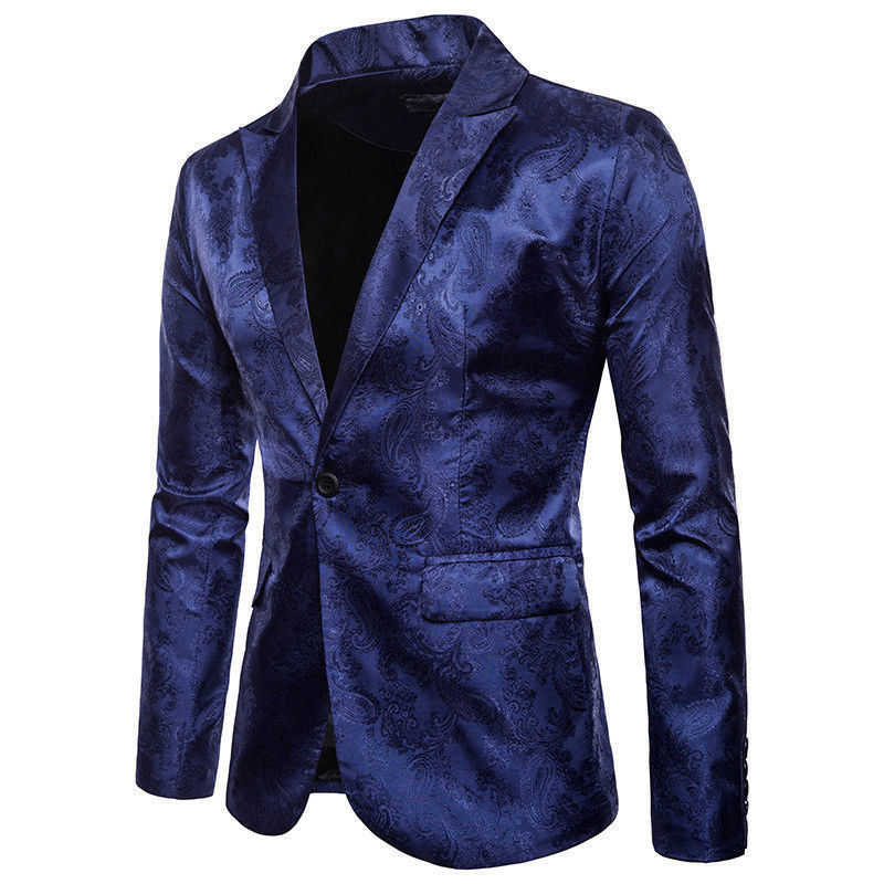 Men Slim Autumn Suit Blazer Formal Business Fashion Male Suit One Button Lapel Casual Long Sleeve Pockets Top