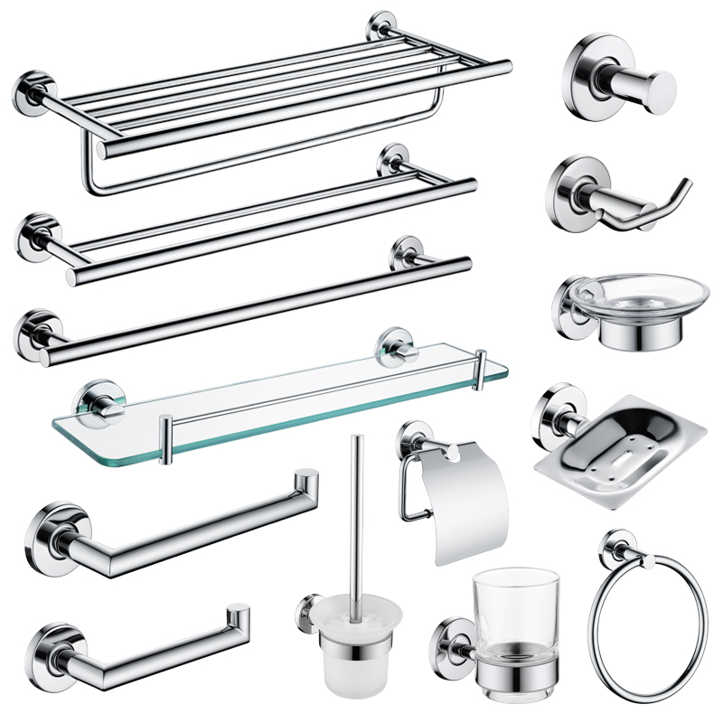 Mirror Plated Bathroom Hardware Set Wall Mounted Soap Dish Robe Hook Towel Ring Roll Paper Holder Toilet Brush Holder SUS 304