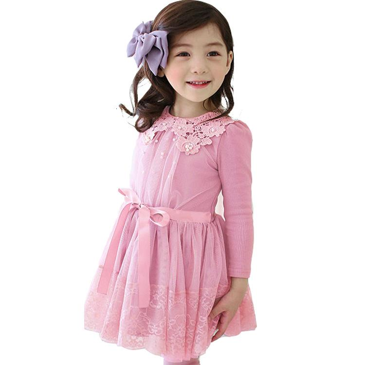 51532a92e81f6 ... manches longues coton robe en fil Enfants Dentelle robe princesse 1675  violet rose. Click here to Buy Now!! Filles robes d