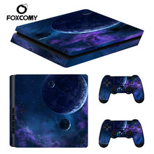 blue Starry Sky Star Console Skin Cover For Playstation 4 Slim Console PS4 Slim Skin Stickers Controller LED Protective