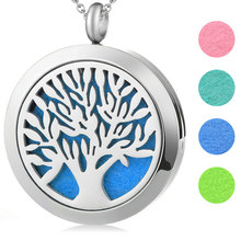 10pcs 30mm tree of life Aromatherapy Essential Oil surgical Stainless Steel Pendant Perfume Diffuser Locket Necklace with chain