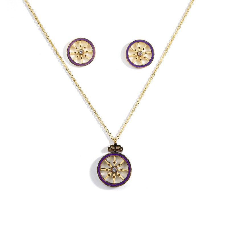 Ensemble de bijoux de collier de boucle d'oreille CBO54 acier inoxydable titane acier ornement marin gouvernail ensemble