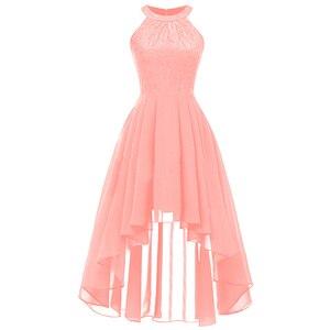 Image 3 - 2020 wedding party dress suknia wieczorowa modna odzież krótki przód długi powrót ciemnoniebieski halter Bow sukienki druhen