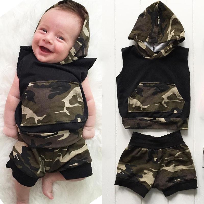Newborn Infant Baby font b Boy b font Girl Clothes Hooded Vest Top T shirt Pants