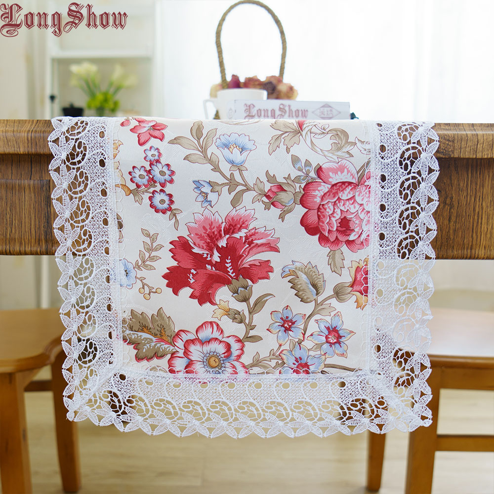 Floral Style Modern Table Runner Soft Jacquard Cloth Embroidered Lace Trim Red Yellow Green Color
