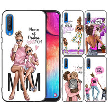 Black Dark Silicone Case for Samsung Galaxy A50 A30 A10 M30 A80 A70 A60 A40 M10Cases Cover Shell Coque Brown Hair Baby Mom Girl(China)