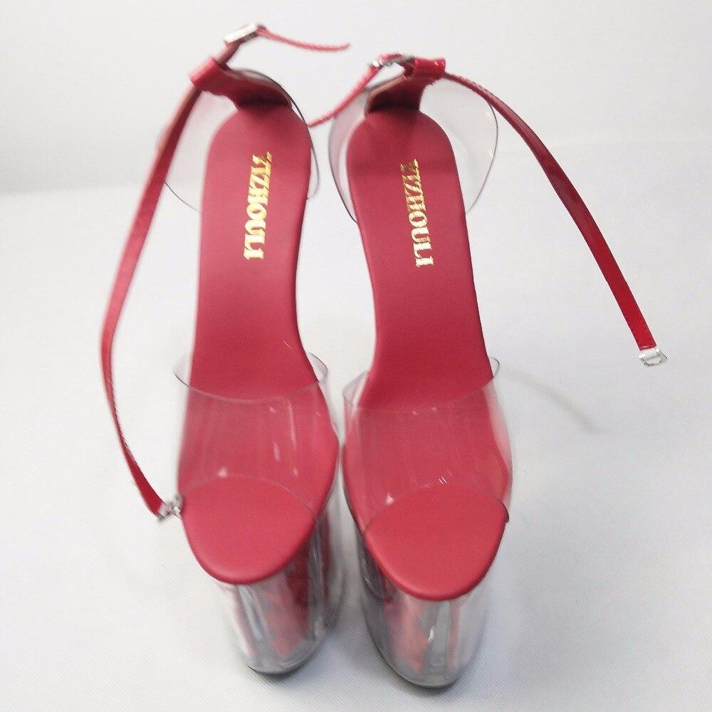 Cos Pouce forme Plate Ultra Chaussures Mariée Mariage Talons Cristal Haute Cm Rose Sandales Rouge 2018 Hauts De 20 Romantique 8 w6qvUgxOn