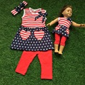2016 детские девушки капри набор июля наряды девушки отечественной наборы полоса наряды красный капри капри брюки с оголовьем