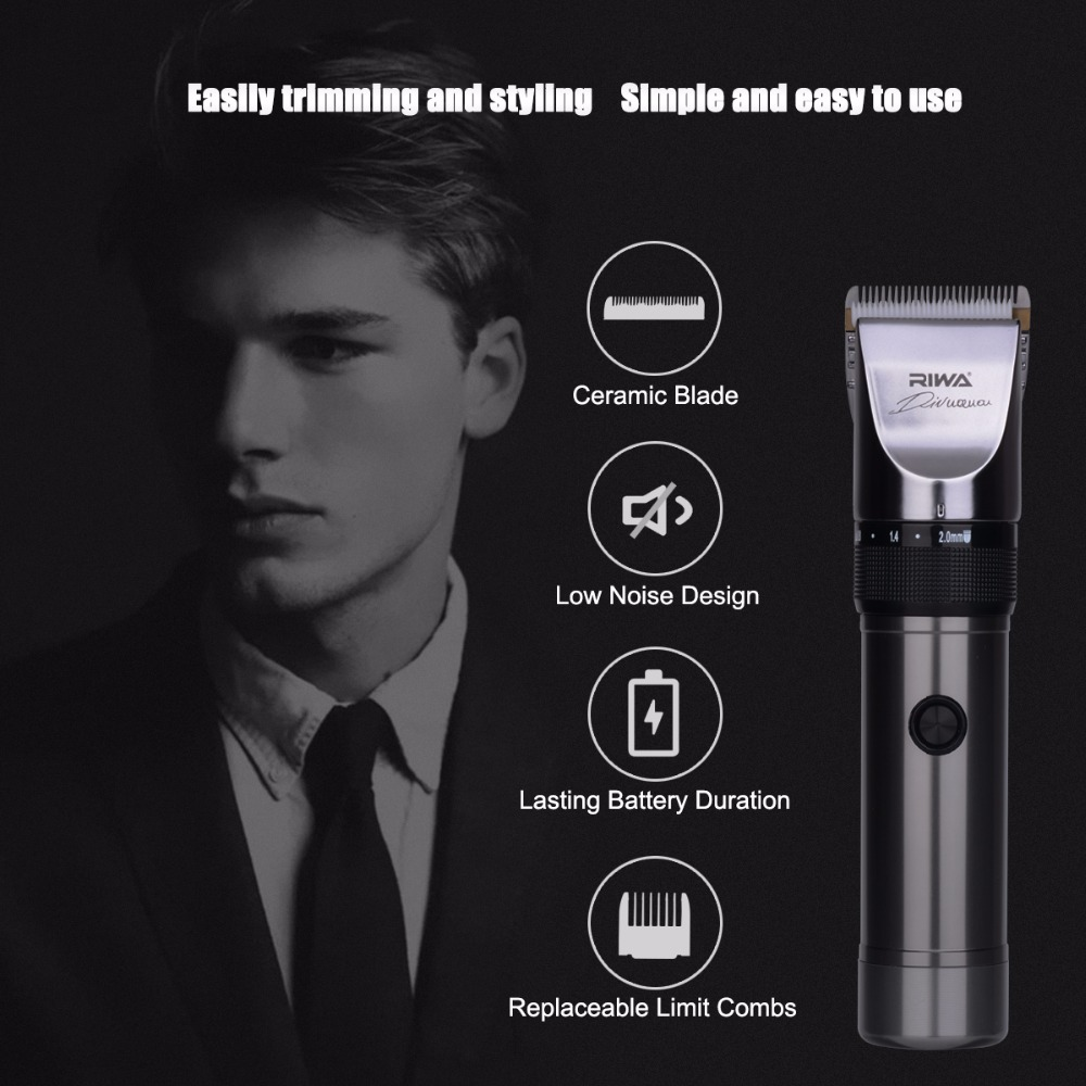 RIWA Professional Rechargeable Hair Clipper Trimmer Hair Cutting Kit shaving machine for men razor low noise ceramic blade  недорого