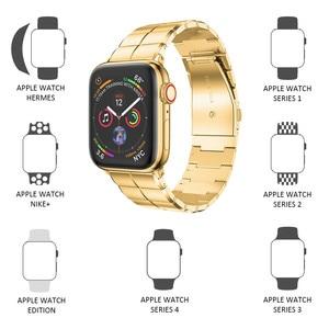 Image 2 - Apple watchband 용 스트랩 38/40mm 42/44mm 스테인레스 스틸 메탈 1 링크 팔찌 smartwatch band for apple watch serise 1 2 3 4 5