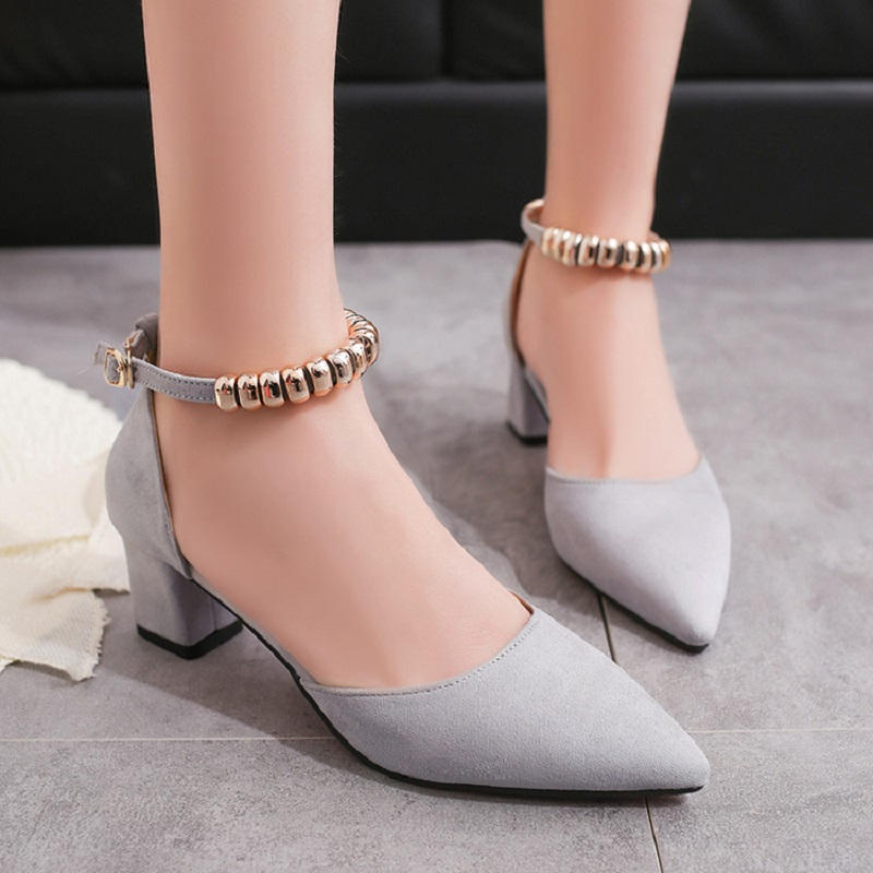 Womens shoes pointed shallow mouth with rough with the 2018 spring and summer new wild word buckle work shoes high heelsfemale.