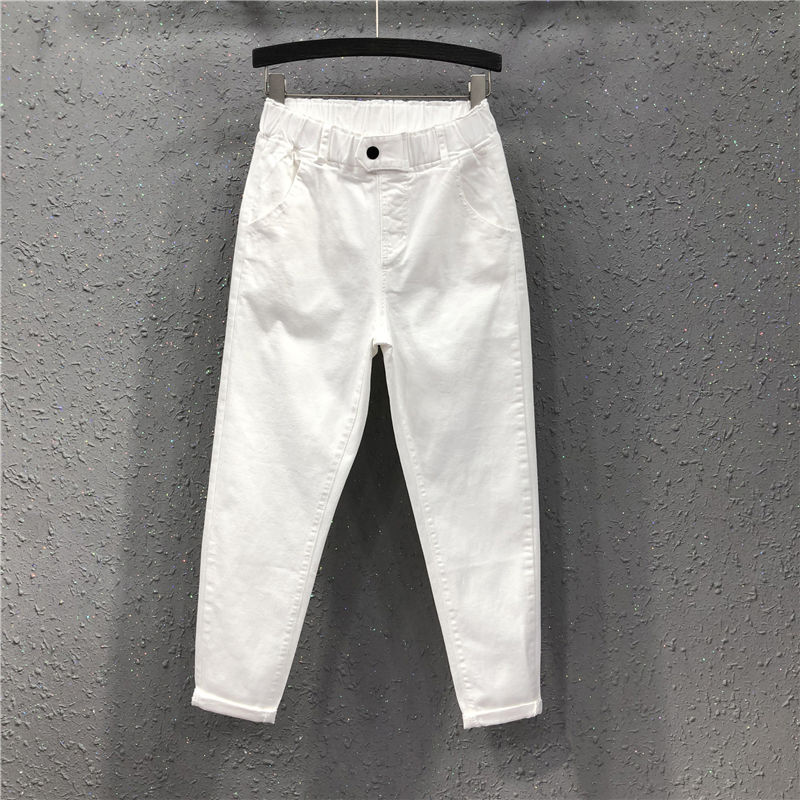 Spring Summer Women Ankle-length Pants Plus Size Solid Cotton Denim Loose Harem Pants White Black Elastic Waist Jeans M-3XL D68