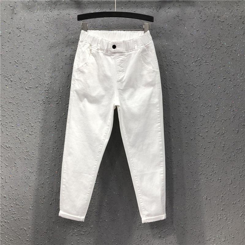 Spring Summer Women Ankle-length Pants Plus Size Solid Cotton Denim Loose Harem Pants White Black Elastic Waist Jeans M-3XL D68