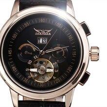 Классические Часы Марка JARAGAR Авто День Многофункциональный Военная Водостойкой Tourbillon Механическая Кожаный Ремешок Montre Homme