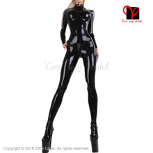 Sexy full latex catsuit suit body feet breast cup rubber catsuit Black stockings Long sleeves Jumpsuit overall plus size XXXL