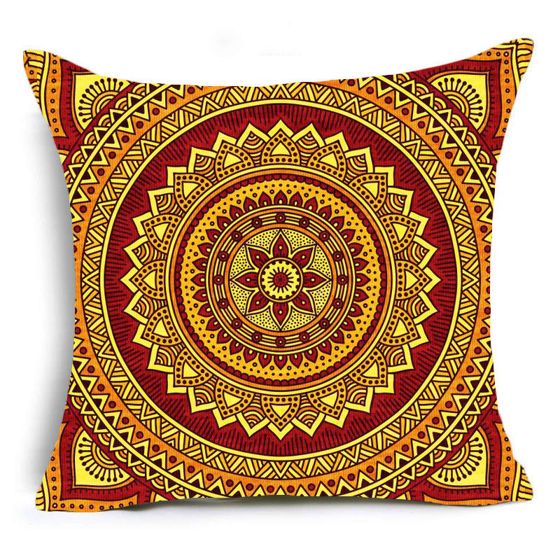 Brown Mandala Print Sofa Cushion Covers