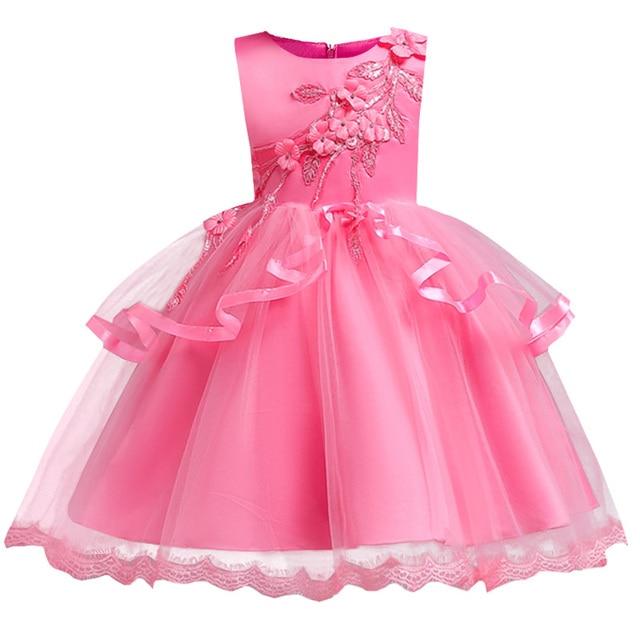 2018 nuovo fiore della maglia del bambino della ragazza dei bambini del vestito vestiti di cerimonia nuziale festa di compleanno della principessa vestiti Elegante 3-12 anni tutu vestito dalla ragazza