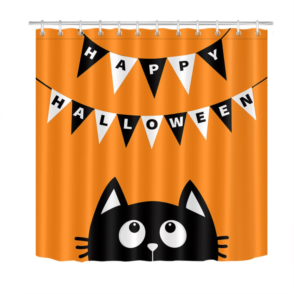 LB Black Cat Face White Hanging Flag Orange Shower Curtain Funny Halloween Waterproof Bathroom Fabric For Kids Art Bathtub Decor In Curtains From
