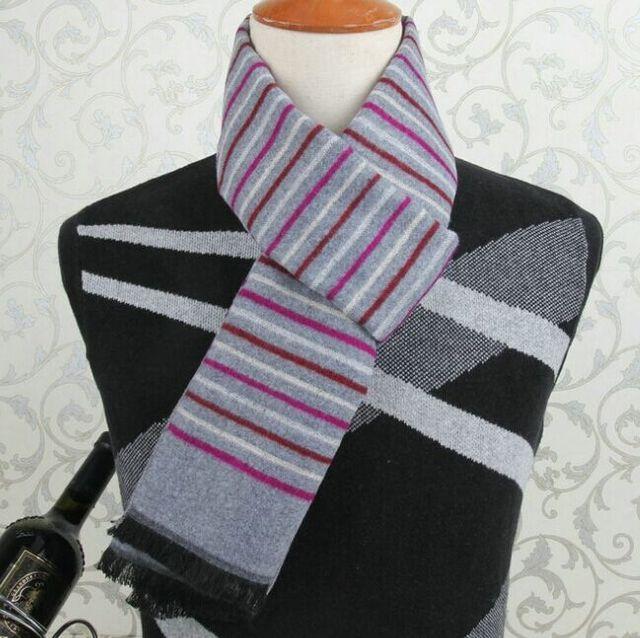 1 шт. зима мужчины классический шарф теплые мягкие бахрома полосатый кисточка обруч шали