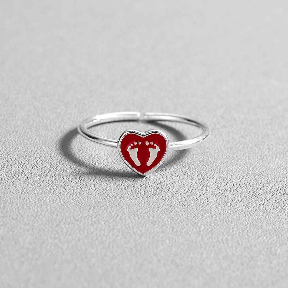 แชนด์เลอร์ 2019 พิมพ์เด็กแหวนเคลือบสีแดงหัวใจรัก Bague คู่สัญญา Band Statement โรแมนติก Bijoux Anillos Anel