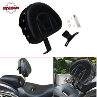 WISENGEAR Driver Rider Backrest Pad For Harley Fatboy Heritage Softail 2007 2017 Motorcycle Rivet Adjustable Sissy Bar Cushion /