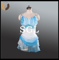 Cupid Role Costumes Adult Spadex Leotard With Chiffon Skirt Sky Blue White Color Opera Performance Short Skirts ST1237