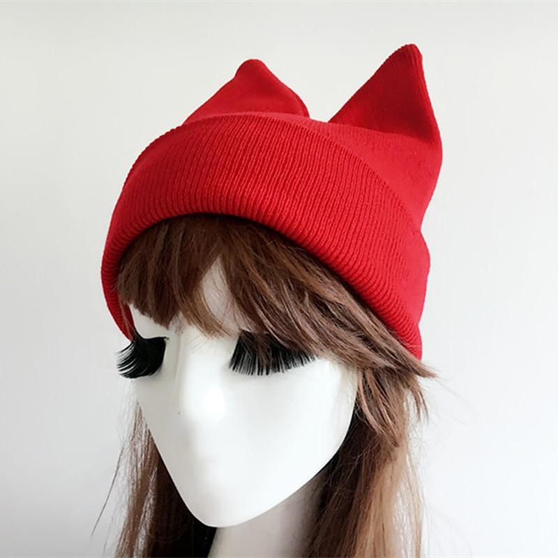 9b61d7aa New Winter Hats For Women Cat Ear Hat Female Winter Beanies Cap Knitted  Bonnet Femme Lovely