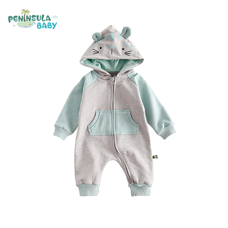 Autumn Cotton Baby Rompers Boys Girls Kids Long Sleeve Cartoon Hooded Coverall Clothing Comfortable Infant Winter Warm Jumpsuit baby climb clothing newborn boys girls warm romper spring autumn winter baby cotton knit jumpsuits 0 18m long sleeves rompers
