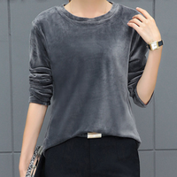 KYMAKUTU New Autumn Winter Tops Female O Neck Long Sleeve T Shirts For Women Solid All