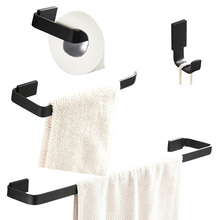Leyden Black Brass 4pcs Bathroom Accessories Set Wall Mounted Single Towel Bar Toilet Paper Holder Ring Robe Hook
