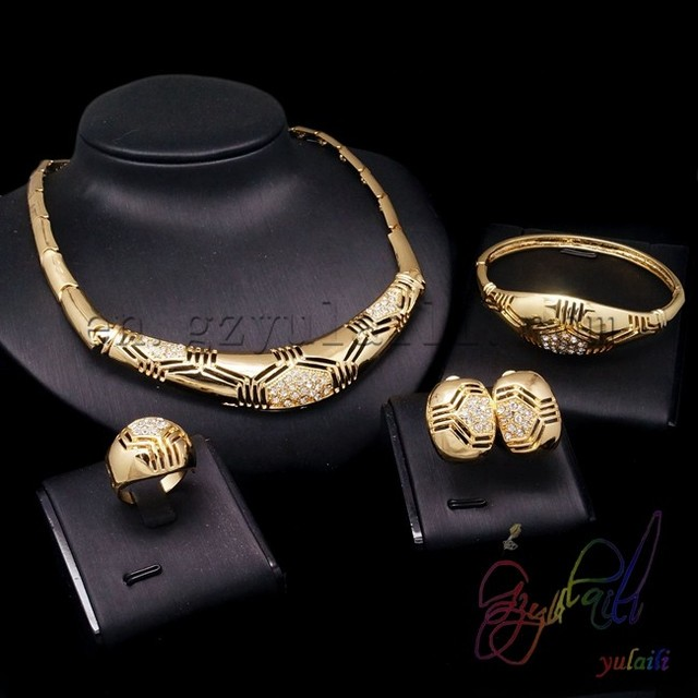 cheap wedding jewelry sets gold color bridal jewelry sets Artificial