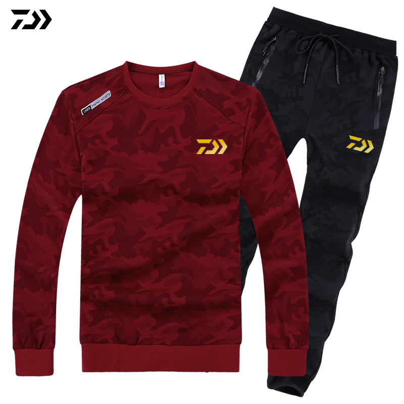 L 8XL Daiwa Plus Size Sports Sets for Fishing Camoufalge Sweater and Pants Breathable Outdoor Camping
