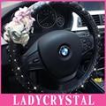 Ladycrystal 15 inch Diamond PU Leather Car Steering Wheel Cover Cute Flowers Car Interior Accessories Steering Wheel Covers