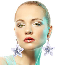 2018 New Hiphop Stars Acrylic Drop Glitter Crystal Shiny Earring Women Punk Night Club Rock Fashion Accessories Dangle Earrings(China)