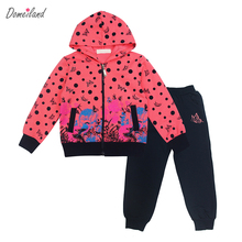 2017 new spring brand domeiland Children clothing sets girl sport long sleeve sweater hooded Dot jackets clothes pants suits