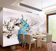 Custom 3d Mural Wallpaper Three-dimensional embossed blue peacock magnolia flower background wall Living Room Wallpaper