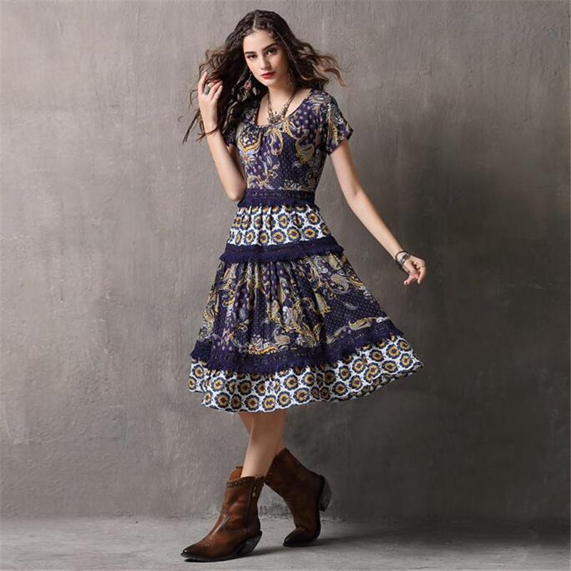 New Arrive Retro Lace Splice Dress Vestidos Women Fashion Casual Cotton Dress Summer Vintage Printing Party Dresses Vestido-in Dresses from Women's Clothing    2
