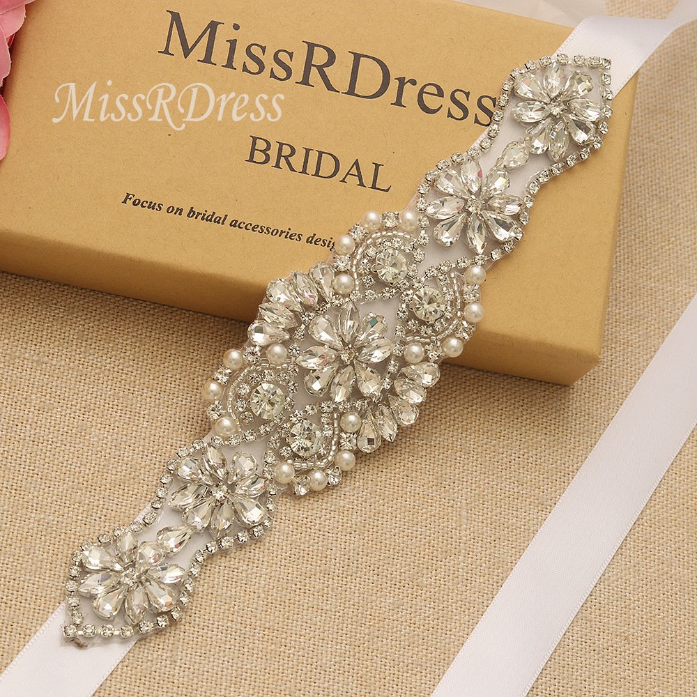 MissRDress Silver Rhinestones Bridal Belt Crystal Pearls Ribbons Wedding Belt Sash For Bridal Bridesmaids Dresses JK910(China)