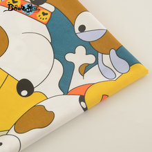 Cartoon Lovely Smile Dogs Design Dark Blue Cotton Fabric Fat Quarter Home Textile Material Bed Sheet Patchwork Quilting(China)