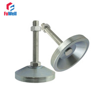 2pcs M12x80mm Adjustable Foot Cups Solid Steel Base 60mm Diameter Articulated Feet M12 Thread Leveling Foot