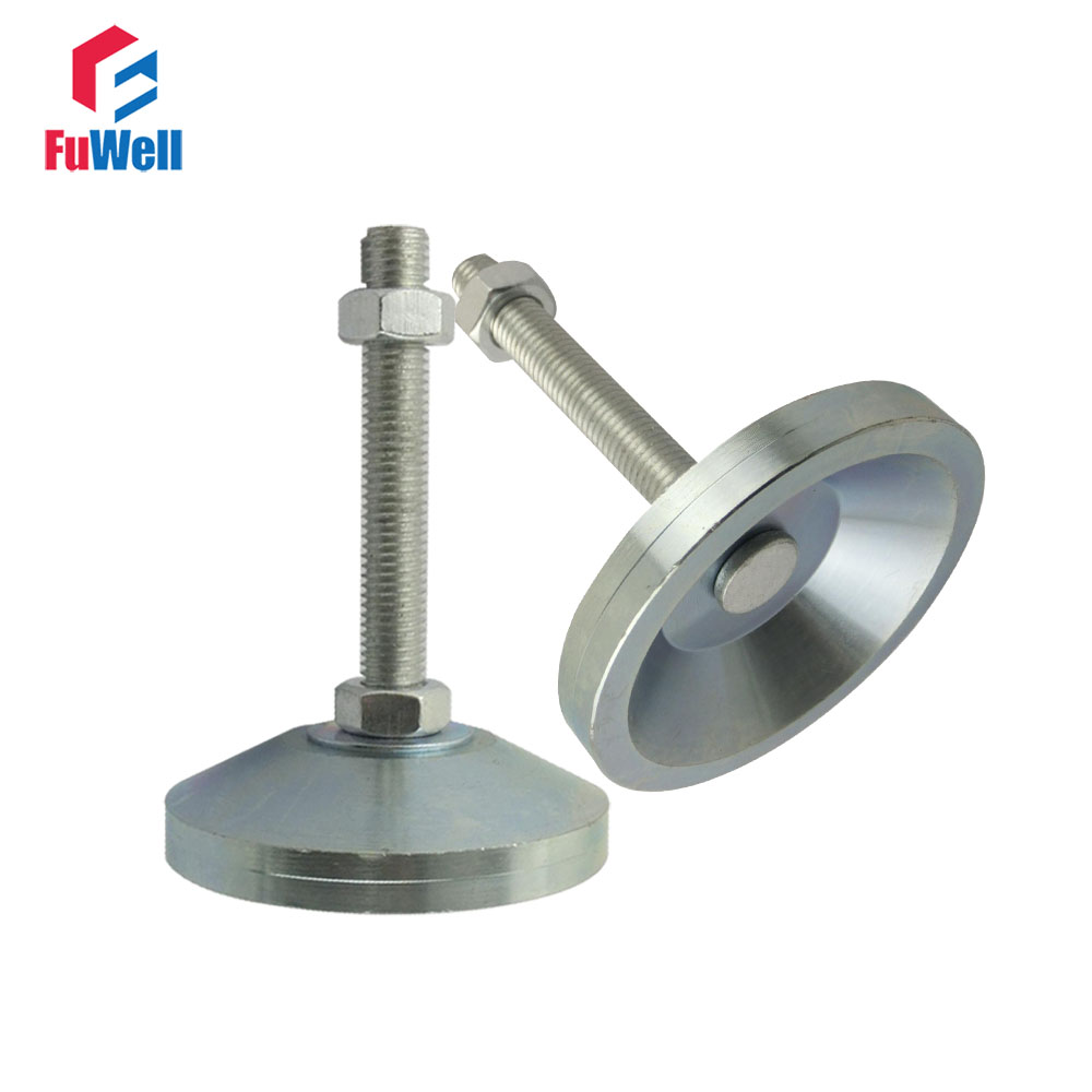 2pcs M10/M12/M14/M16 Thread Adjustable Foot Cups Solid Steel Base 60mm Diameter Articulated Feet Leveling Foot