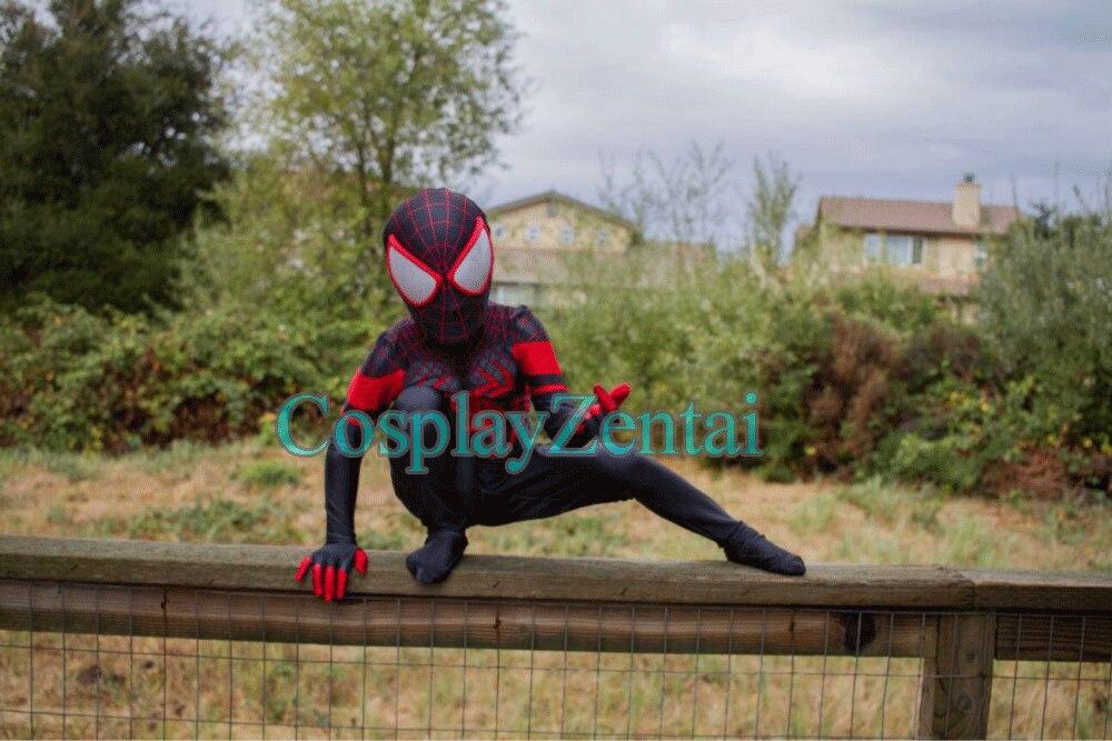 Kids Miles Morales spiderman Costume 3D Print Lycra Zentai Suit Spiderman Cosplay Halloween Costume miles morales